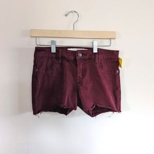 Abercrombie & fitch burgundy cut off shorts